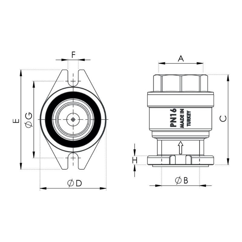 CHECKVALVE WITH FLANGED